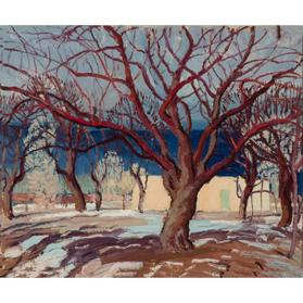 Untitled (Red Tree and Adobe House)
