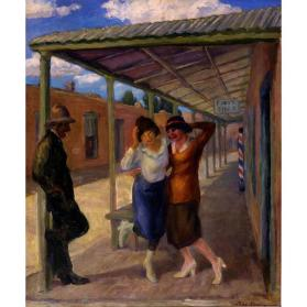 John Sloan, Under the Old Portal (Old Portale, Santa Fe), 1919 (reworked 1945), oil on canvas, 24 x 20 in. Collection of the New Mexico Museum of Art. Gift of Julius Gans, 1946 (22.23P) Photo by Blair Clark