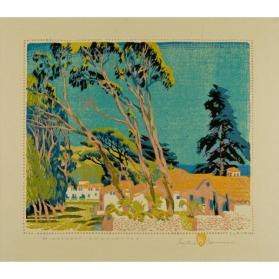 Gustave Baumann, Singing Trees, 1928, color woodcut, 12 7/8 x 12 7/8 in. Collection of the New Mexico Museum of Art. Museum purchase with funds raised by the School of American Research, 1952 (914.23G) ©New Mexico Museum of Art. Photo by Blair Clark