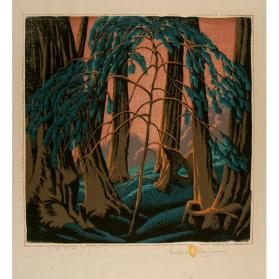 Gustave Baumann, Song of the Sea, 1936, color woodcut, 12 1/2 x 12 1/2 in. Collection of the New Mexico Museum of Art. Museum purchase with funds raised by the School of American Research, 1952 (917.23G) © New Mexico Museum of Art. Photo by Blair Clark