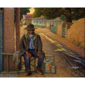 Joseph Henry Sharp, The Village Lamplighter, n.d., oil on canvas, 25 x 30 in. Collection of the New Mexico Museum of Art. Gift of Julius Gans, 1945 (4.23P) Photo by Blair Clark.