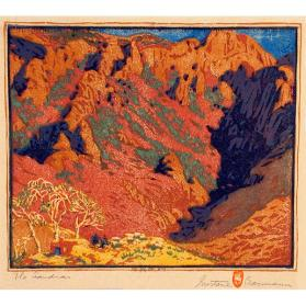 Gustave Baumann, Silver Sky, 1935, color woodcut with aluminum leaf, 12 1/2 × 13 7/16 in. Collection of the New Mexico Museum of Art. Museum purchase with funds raised by the School of American Research, 1952 (962.23G) © New Mexico Museum of Art. Photograph by Blair Clark