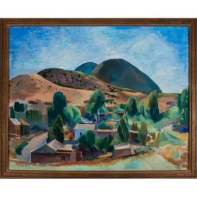 Willard Nash, Landscape (Santa Fe), 1930, oil on canvas, 24 1/4 x 30 1/4 in. Collection of the New Mexico Museum of Art. Gift of Anton V. Long, 1958 (107.23P) © Willard Nash Estate. Photo by Blair Clark