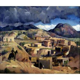 Leon Kroll, Santa Fe Hills (La Loma), 1917 (retouched later), oil on canvas, 34 x 40 1/4 in. Collection of the New Mexico Museum of Art. Gift of the Museum of New Mexico Foundation, 1972 (2266.23P) Photo by Blair Clark