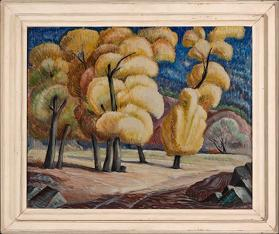 Will Shuster, Trees at Canyoncito, circa 1930, oil on canvas, 24 1/4 x 30 1/4 in. On long term loan to the New Mexico Museum of Art from the Fine Arts Program, Public Buildings Service, U.S. General Services Administration (2815.23P) Photo by Blair Clark