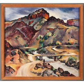 Gene Kloss, The Old Taos Junction Bridge, circa 1941, oil on canvas, 24 x 25 1/2 in. On long term loan to the New Mexico Museum of Art from the Fine Arts Program, Public Buildings Service, U.S. General Services Administration (2816.23P) Photo by Blair Clark