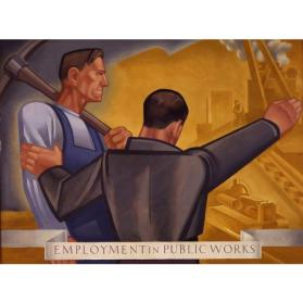 Tom Lea, Employment in Public Works, 1934, oil on Masonite, 36 x 40 in. On long term loan to the New Mexico Museum of Art from the Fine Arts Program, Public Buildings Service, U.S. General Services Administration (2835.23P) Photo by Blair Clark