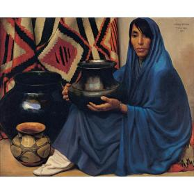 Henry C. Balink, Pueblo Pottery, 1917, oil on canvas, 26 1/4 × 32 1/8 in. Collection of the New Mexico Museum of Art. Gift of Herman C. and Bina L. Ilfeld, 1977 (2991.23P) Photo by Blair Clark