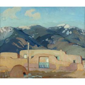 Adobe House and Taos Mountains