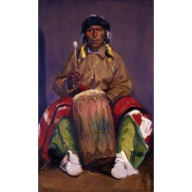 Robert Henri, Portrait of Dieguito Roybal, San Ildefonso Pueblo, 1916, oil on canvas, 67 × 40 in. Collection of the New Mexico Museum of Art. Gift of Robert Henri, 1916 (353.23P) Photo by Blair Clark