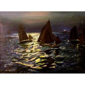 Sailboats in the Moonlight