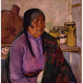 Catherine Carter Critcher, Hopi Pottery Maker, circa 1927, oil on canvas, 30 x 29 in. Collection of the New Mexico Museum of Art. Gift of Toy D. and Helen Savage, 1996 (1996.1.1) Photo by Blair Clark