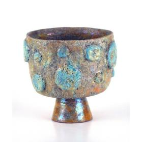 Gold Crater Lustre Footed Bowl