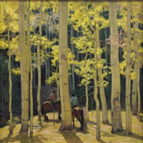E. Martin Hennings, Among the Aspens, before 1939, oil on canvas, 29 1/4 x 29 1/4 in. Collection of the New Mexico Museum of Art. Gift of Isobel Herzstein Lord in loving memory of Simon and Maud Herzstein, 2006 (2006.24) Photo by Blair Clark