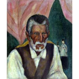 Paul Burlin, The Sacristan of Trampas, 1918, oil on canvas, 23 1/4 x 19 1/2 in. Collection of the New Mexico Museum of Art. Museum purchase, before 1922 (118.23P) Photo by Blair Clark